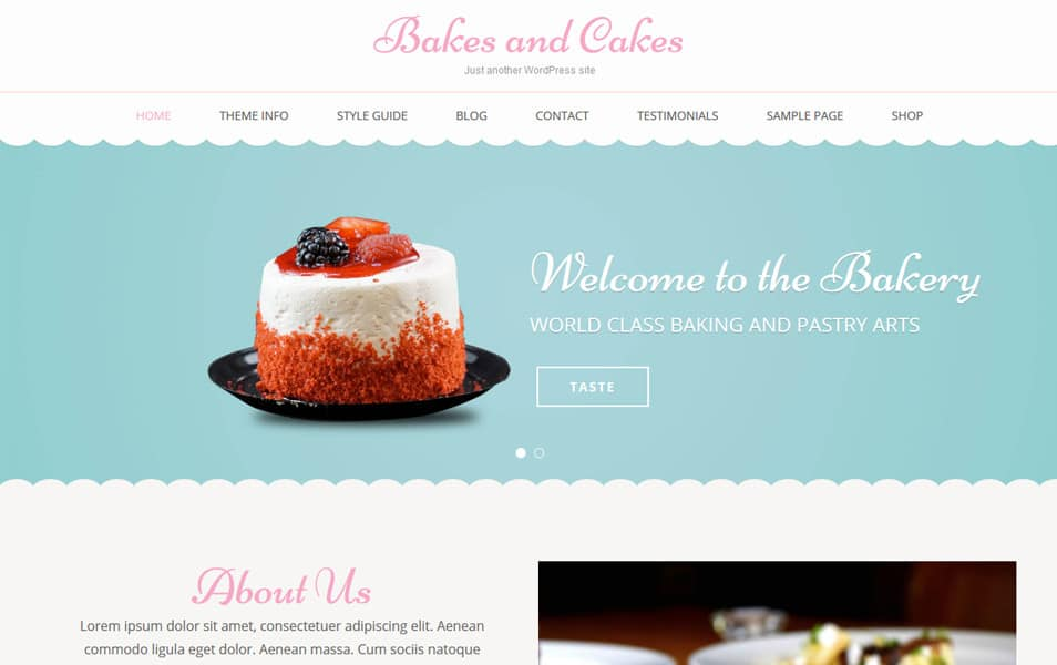 Bakes And Cakes Responsive WordPress Theme