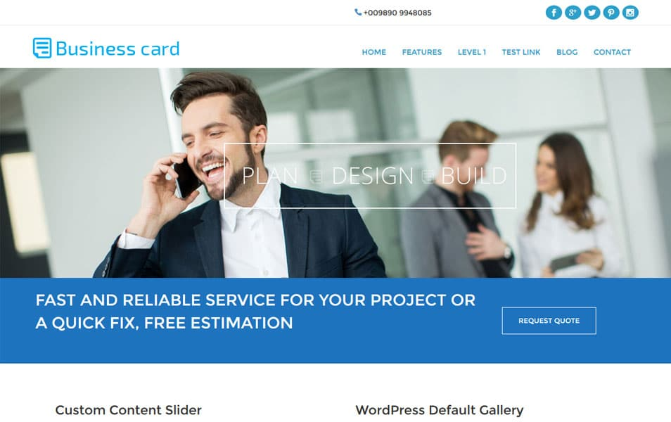 Business Card WordPress Theme