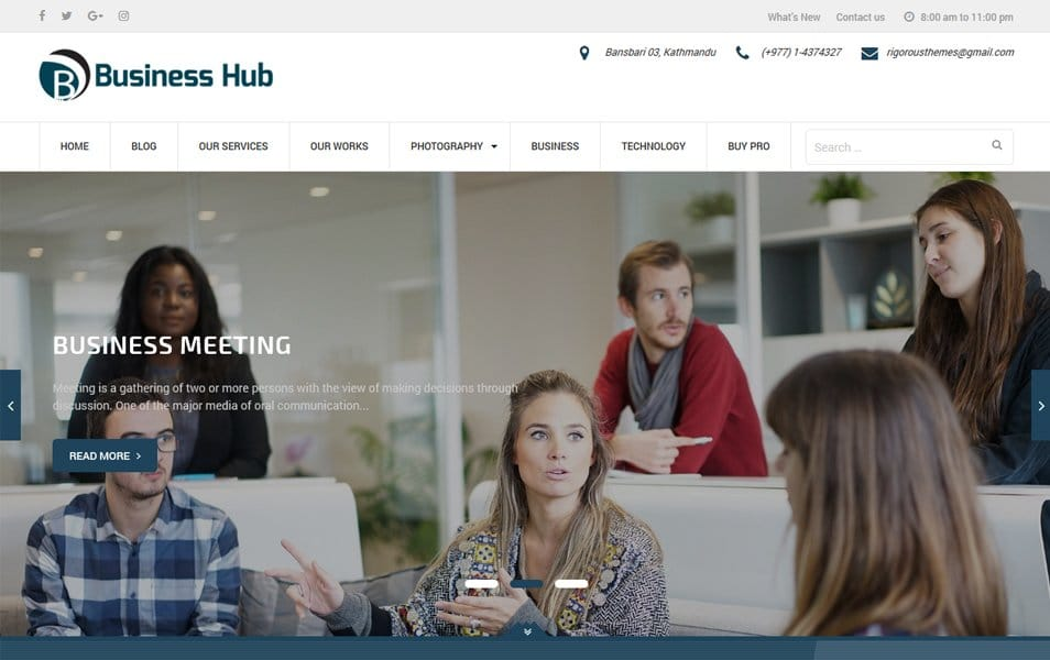 Business Hub Responsive WordPress Theme