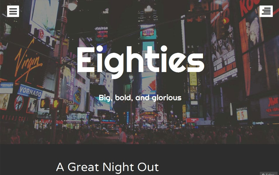 Eighties Free Photography WordPress Theme