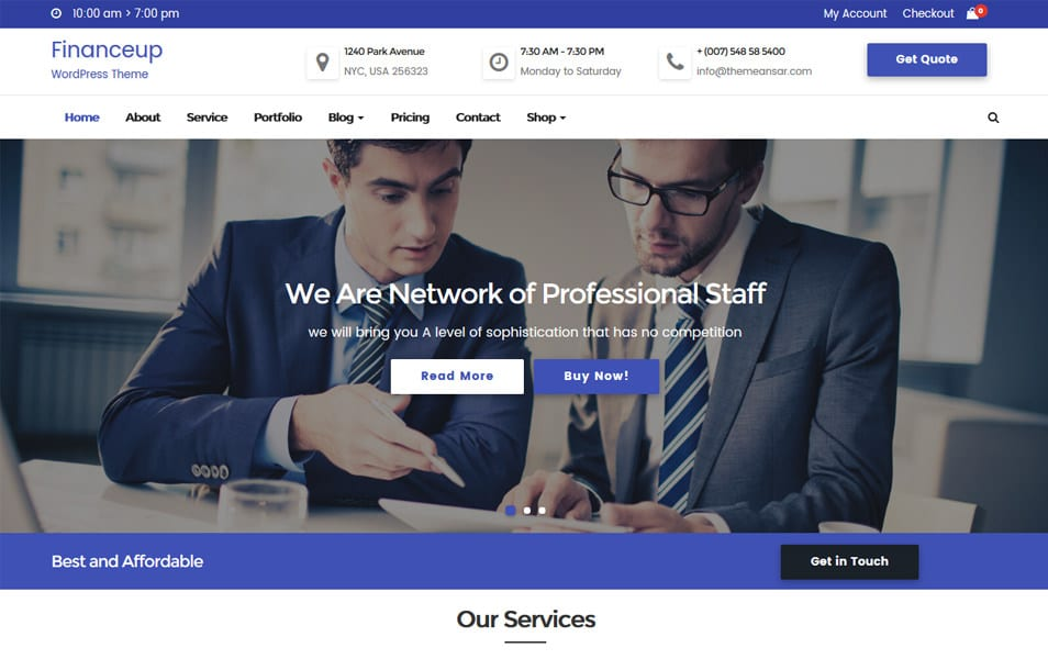 Financeup Responsive WordPress Theme