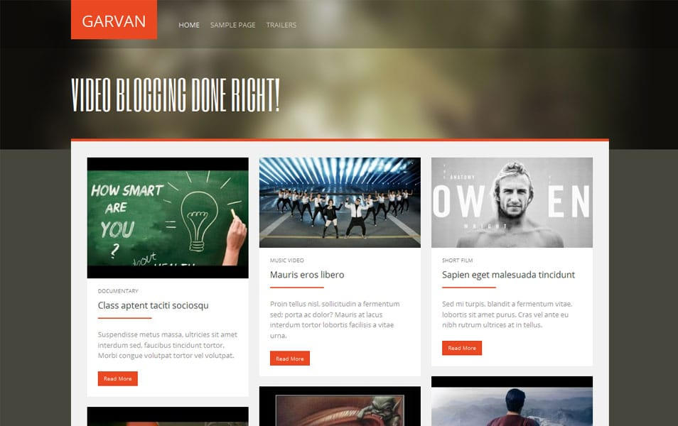 Garvan Free Portfolio WordPress Theme