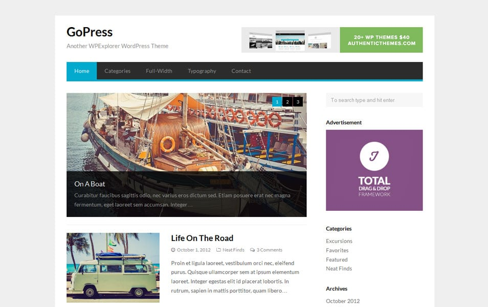 GoPress Free WordPress Magazine Theme