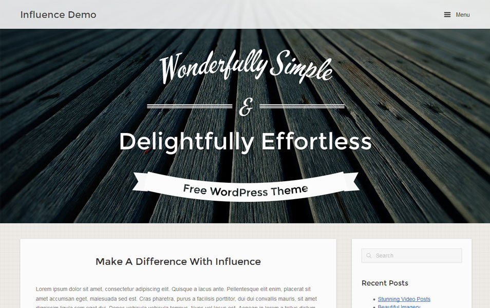Influence Free Photography WordPress Theme