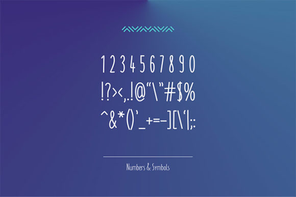 Monly font: Numbers and symbols