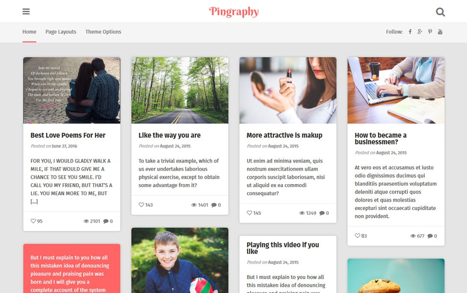 Pingraphy Responsive WordPress Theme