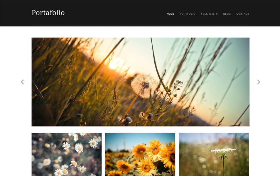 Portafolio Free Photography WordPress Theme