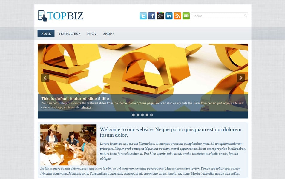 TopBiz Free Portfolio WordPress Theme