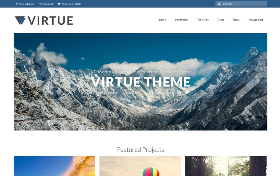 Virtue Free Portfolio WordPress Theme