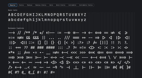 JetBrains Mono characters