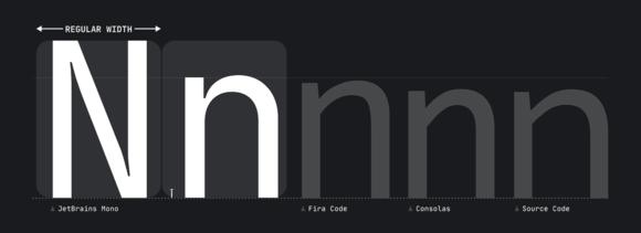 JetBrains Mono width